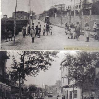 El mateix lloc amb la diferència de 30 anys, la de dalt pertany en l'any 1920, la de baix 1950. Encreuament Rambla Sant Sebastià / carretera de Sant Adrià.