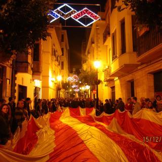 Manifestació per la llengua 15 dec 2012 amb la Senyera Infinita d¨Almenara