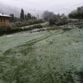 Imatge inusual per acabar el mes d'abril: Neu a Ribes de Freser