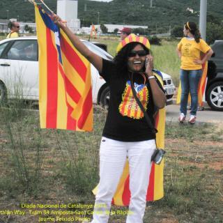 Donant la benvinguda als cotxes cap a la Via Catalana