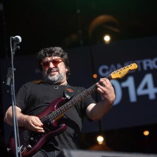 El cantant Pep Sala durant la seva actuació al Canet Rock
