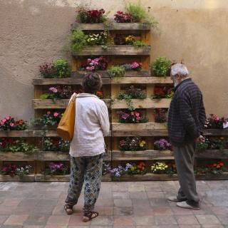 Jardineres amb palers a Can Farran, al carrer Jovara de Calella,