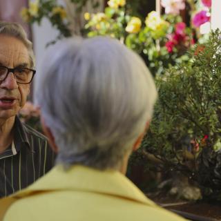 Propietari dels bonsais a l'exposició de l'Escola Pia,