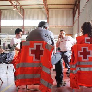 Centre de comandament i pavelló amb els evacuats a Sant Salvador de Guardiola de la urbanització de Ca l'Esteve