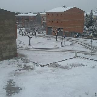 Una imatge de Guissona, nevada