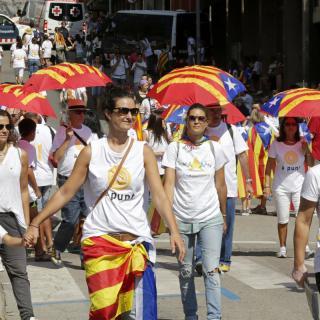 A Berga, diverses persones a punt per anar a la manifestació