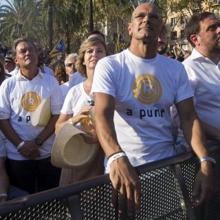 Artur Mas, Raúl Romeva i Oriol Junqueras a la manifestació