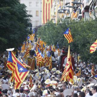 Berga, un moment de l'acte de la Diada descentralitzada