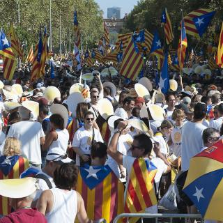 Barcelona.Ambient de la manifestació de la Diada a la plaça Tetuan