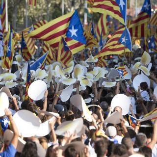 Ambient de la manifestació de la Diada a Barcelona