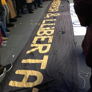 Pancarta reivindicativa a Terrassa