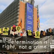 Protesta a la seu de la Comissió Europea