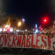 Manifestació amb motiu de l'inici del judici de l'1-O, al Passeig de Gràcia de Barcelona