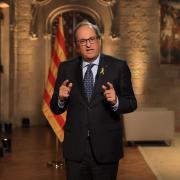 El president de la Generalitat, Quim Torra, llegeix el missatge institucional de la Diada 2019