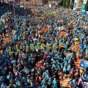 Aspecte general de la manifestació de la Diada a Barcelona