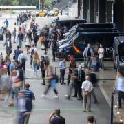 Manifestació a la Via Laietana poc després de l'anunci de la sentència de l'1-O