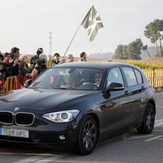 El vehicle de l'advocat Jordi Pina, arribant a Lledoners després de la sentència