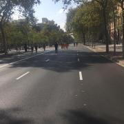 La Gran Via de Barcelona, buida aquest dilluns al migdia