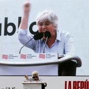 Clara Ponsatí durant el seu discurs a Perpinyà