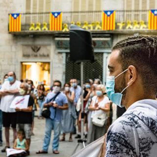 Llibertat preses polítiques i exiliades 142a concentració Plaça del Vi  Girona Amb les intervencions del Grup de suport de l'Ibrahim, en Charaf i en Mouchine