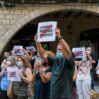 9e acte presencial a la plaça del Vi després del confinament Seguim defensant tots els drets i exigint la llibertat presos politics i exiliats