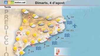 Predicció temps dimarts 4 d'agost 2020 tarda
