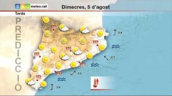 Previsió del temps per al dimecres 5 d'agost