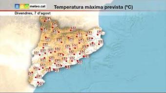 Previsió del temps per al divendres 7 d'agost