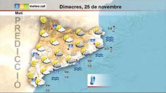 Previsió del temps per al dimecres 25 de novembre