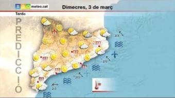 Previsió del temps per al dimecres 3 de març