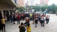 Concentració davant els jutjats en protesta per les detencions, aquest dijous a la Seu d'Urgell