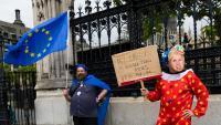 """Un manifestant amb una careta de Boris Johnson exhibeix un cartell amb el missatge """"El meu unicorn és més gran que el teu. Vota'm"""", aquest dijous a l'exterior del Parlament britànic"""