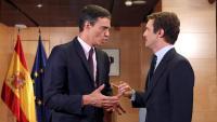 El president del govern espanyol en funcions, Pedro Sánchez, i el líder del PP, Pablo Casado, en una imatge recent