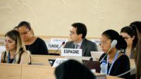 El representat espanyol, Pablo Nuño, aquest dilluns al plenari del Consell de Drets Humans de l'ONU
