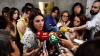 La portaveu d'Unides Podem, Irene Montero, en una atenció als mitjans aquest dimecres al Congrés