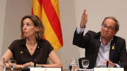 El president Quim Torra, el secretari d'Empresa, Joaquim Ferrer i la consellera d'Empresa, Àngels Chacón, aquest dilluns a la reunió del Consell Català de l'Empresa al Palau de la Generalitat