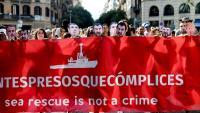 Manifestació contra la criminalització de les ONG que rescaten persones a la mediterrània, dissabte passat a Barcelona