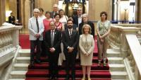 Fotografia de família del nou plenari del CoNCA, aquest dijous al Parlament amb le president de la Generalitat, Quim Torra, el del Parlament, Roger Torrent, i la consellera de Cultura, Mariàngela Vilallonga