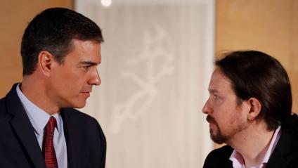 Els secretaris generals del PSOE, Pedro Sánchez, i Podem, Pablo Iglesias, durant una reunió el passat 9 de juliol