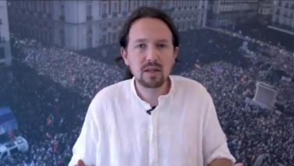 Captura de pantalla del vídeo publicat per Pablo Iglesias, on anuncia la seva decisió de fer un pas al costat per facilitar un govern de coalició