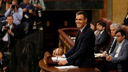 El candidat del PSOE a la investidura, Pedro Sánchez, aquest dilluns al Congrés