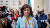 La candidat del PSOE a la presidència de la Rioja, Concha Andreu, arribant dilluns al Parlament autonòmic