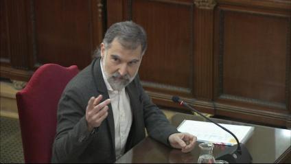 El líder d'Òmnium, Jordi Cuixart, durant una vista del judici de l'1-O al Tribunal Suprem