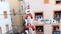 Imatge de la torre de 8 sense forre de la Vella de Valls, aquest dissabte al Catllar