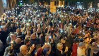Imatge de la concentració de Barcelona aquest dimarts a la nit