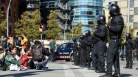 Agents dels Mossos, aquest dijous davant una concentració a la Gran Via de Barcelona