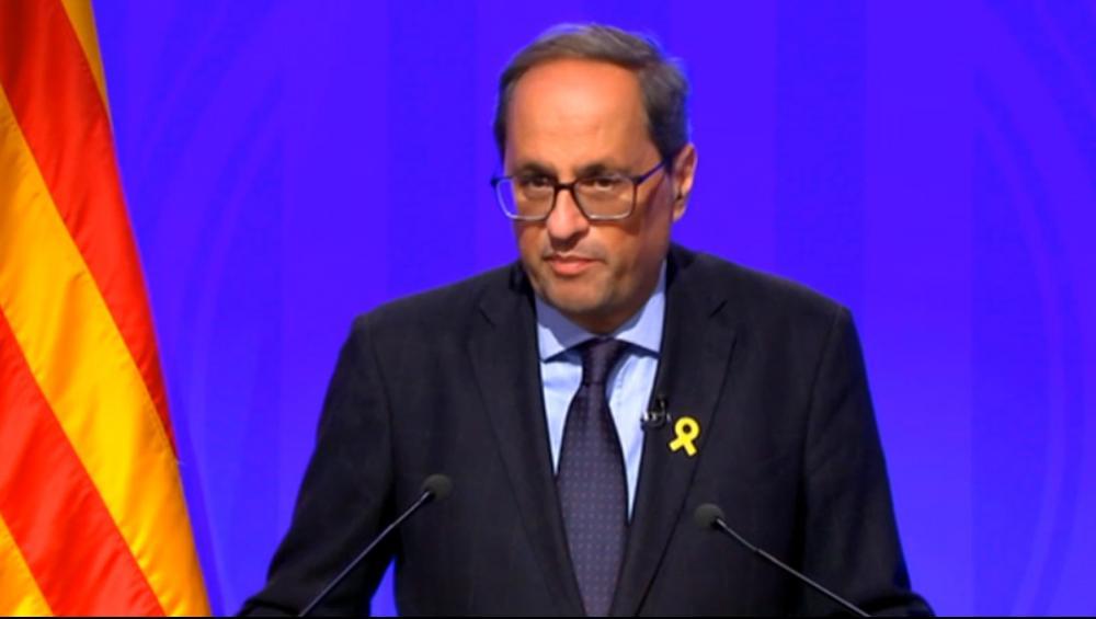 El president de la Generalitat, Quim Torra, durant el discurs televisat