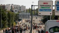 Un grup d'estudiants talla una carretera a Tarragona, aquest dijous
