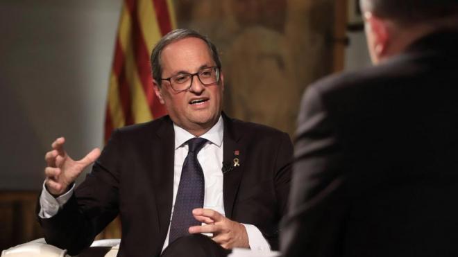 El president de la Generalitat, Quim Torra, durant l'entrevista amb TV3