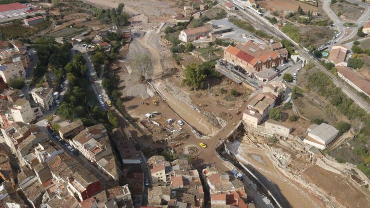 Vista aèria de la desolació causada pel temporal a l'Espluga del Francolí, una de les poblacions més afectades per les inundacions